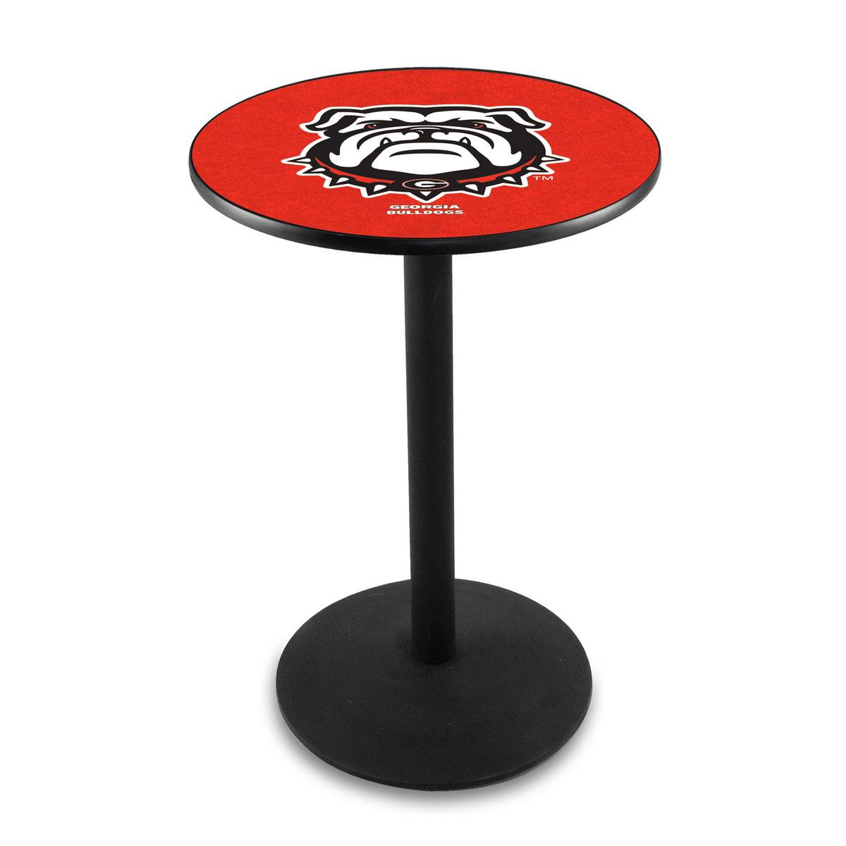 Amazing University Georgia Bulldog Logo Pub Bar Table Round Stand Product Photo