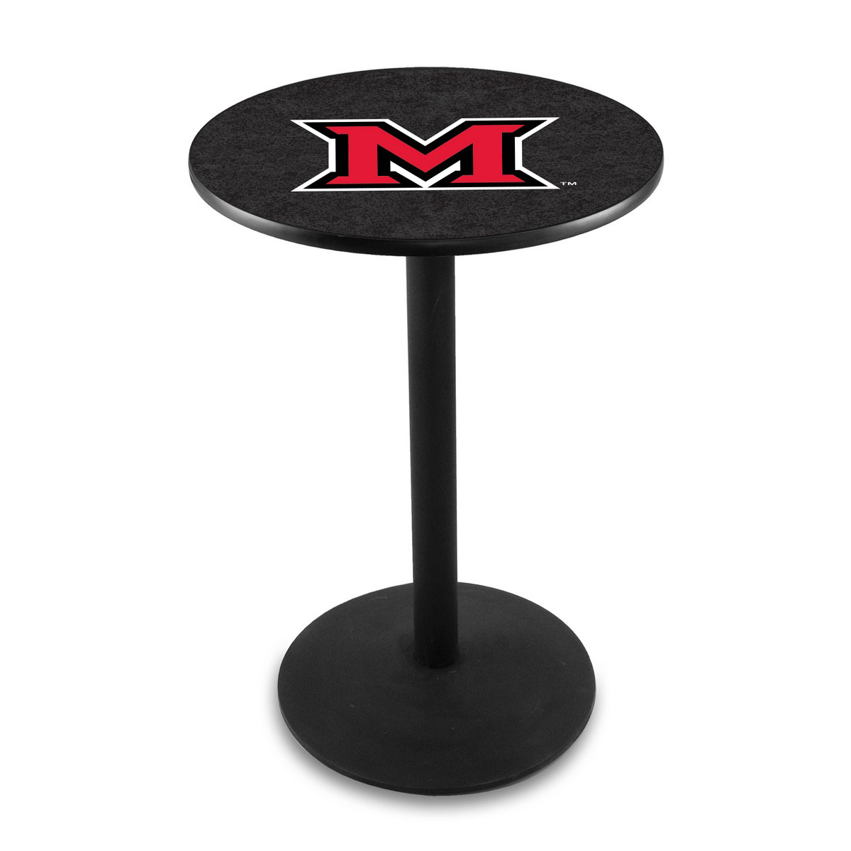Information about Miami University Oh Logo Pub Bar Table Round Stand Product Photo