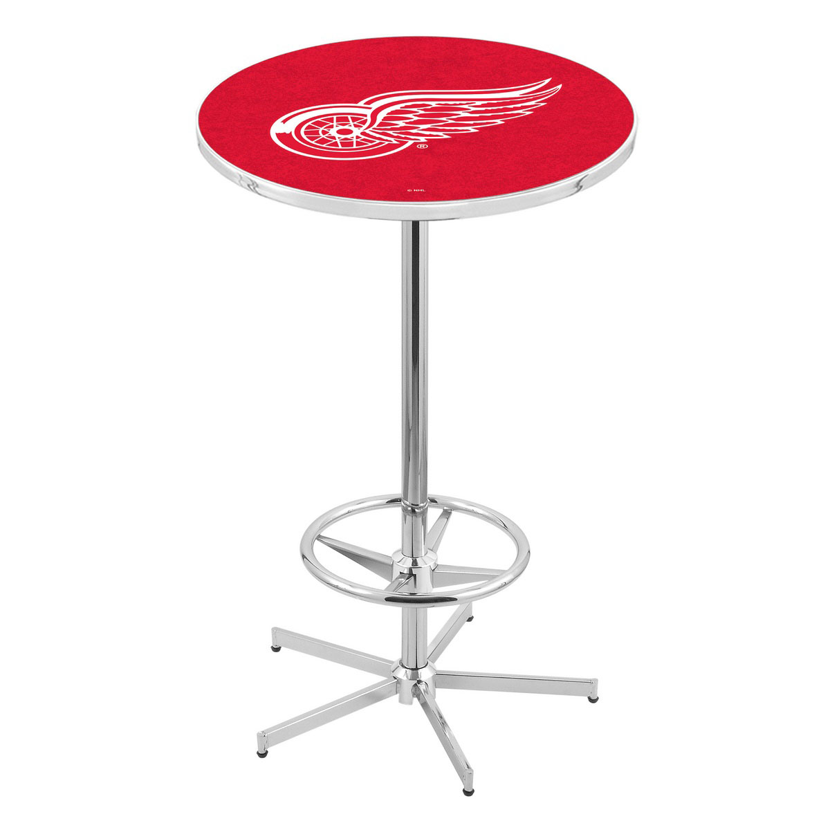 Remarkable Chrome Detroit Wings Pub Table Product Photo