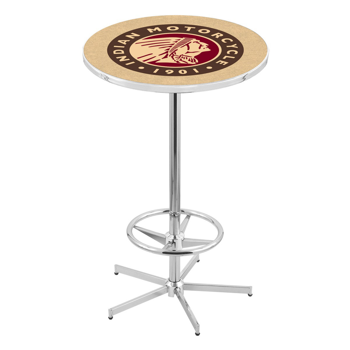 Magnificent Chrome Indian Motorcycle Pub Table Product Photo