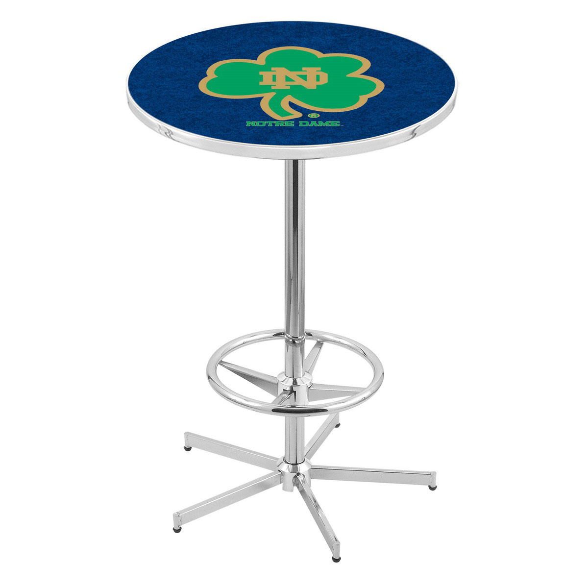 Superb Chrome Notre Dame Shamrock Pub Table Product Photo