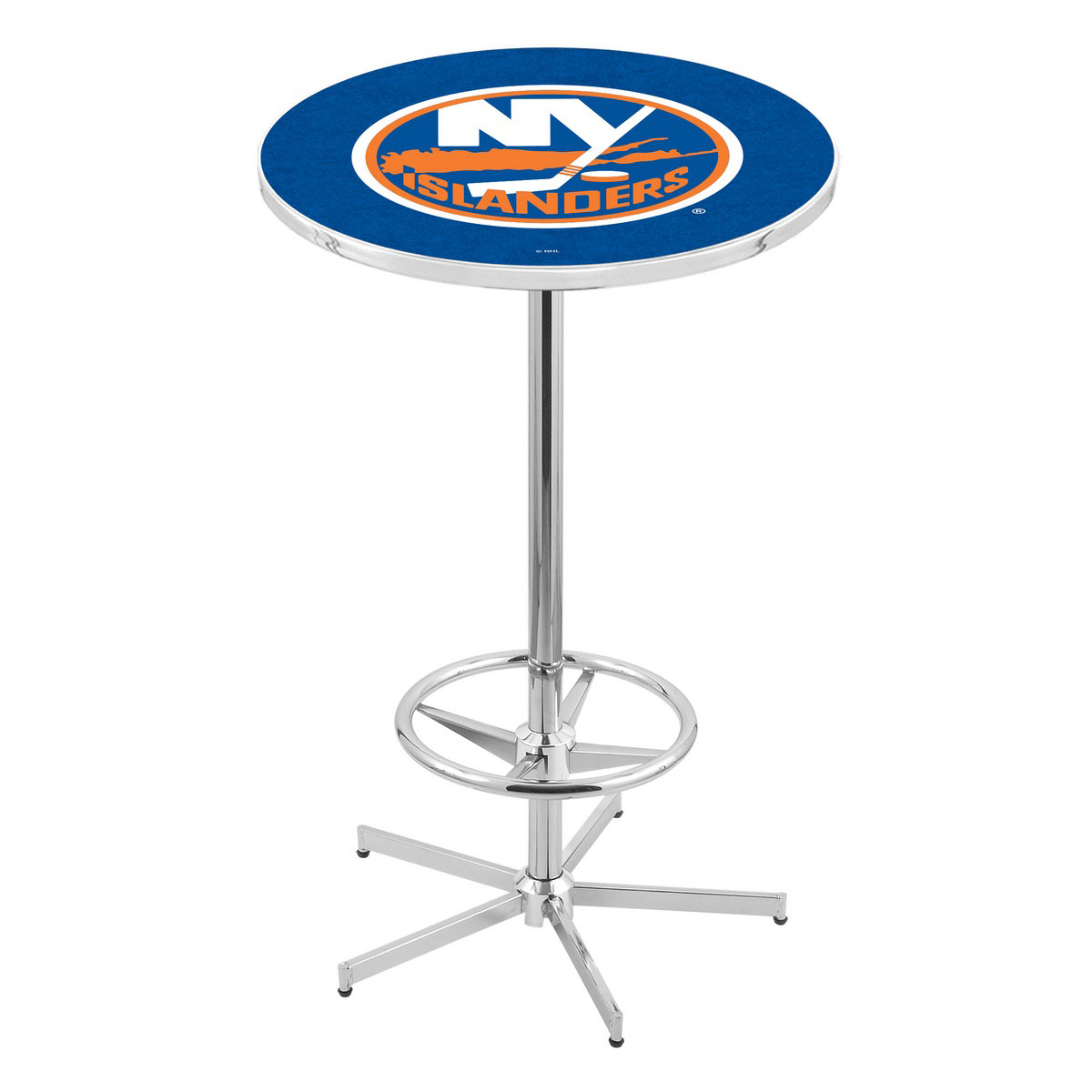 Stylish Chrome York Islanders Pub Table Product Photo