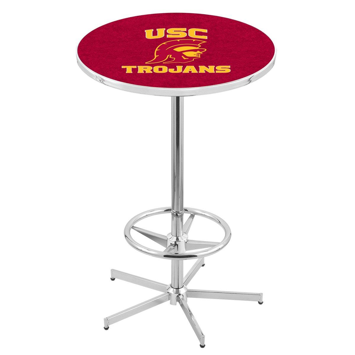 High-class Chrome Usc Trojans Pub Table Product Photo