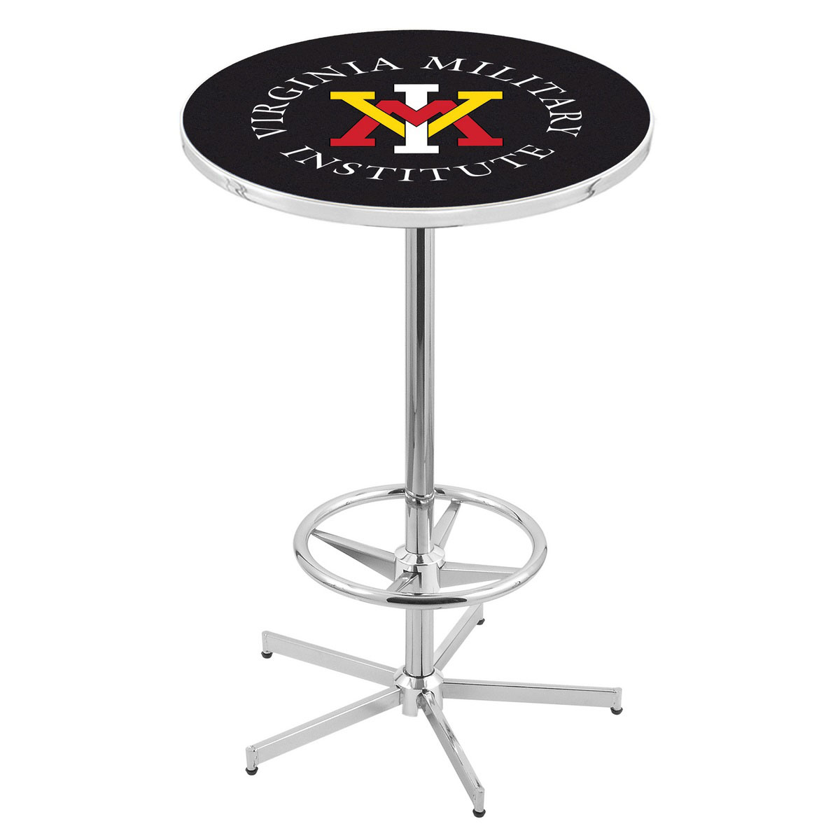 Stylish Chrome Virginia Military Institute Pub Table Product Photo