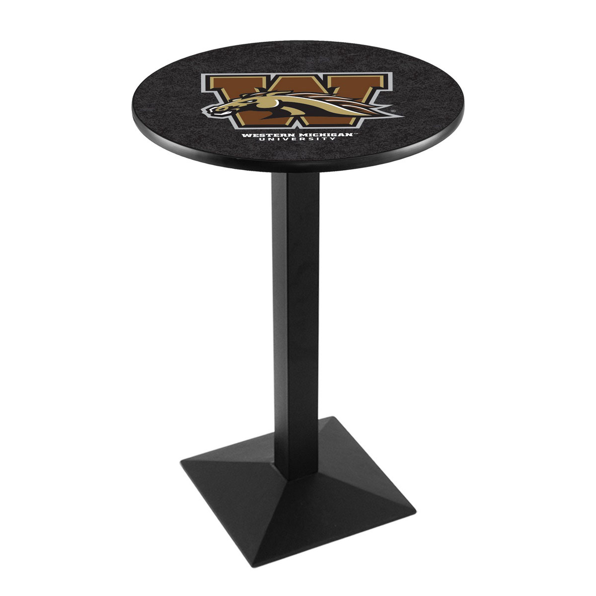 Check out the Western Michigan University Logo Pub Bar Table Square Stand Product Photo