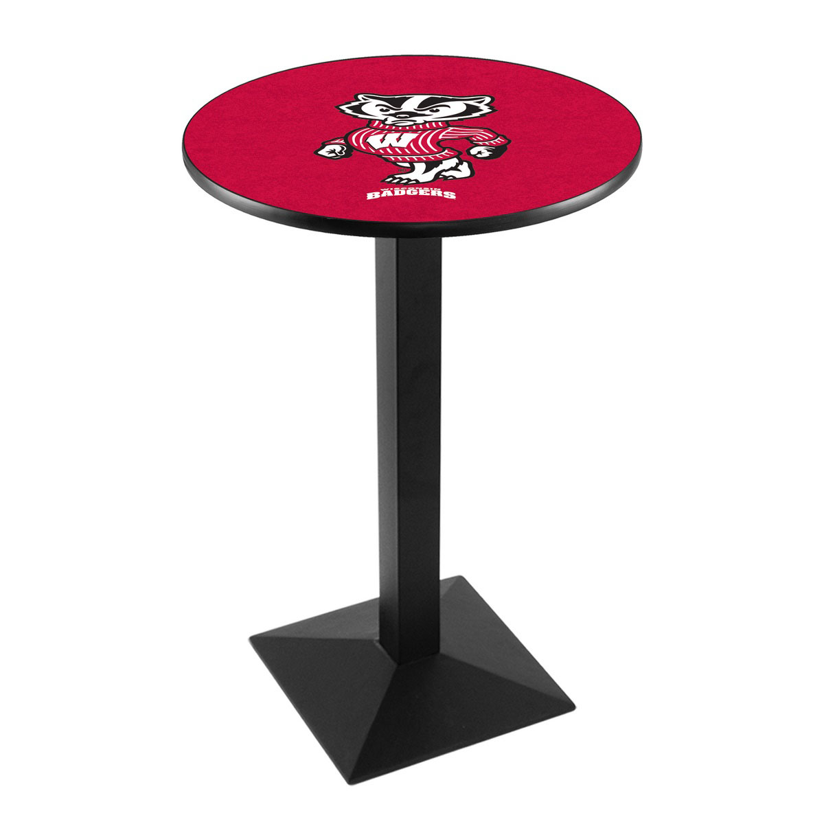 Magnificent University Wisconsin Badger Logo Pub Bar Table Square Stand Product Photo