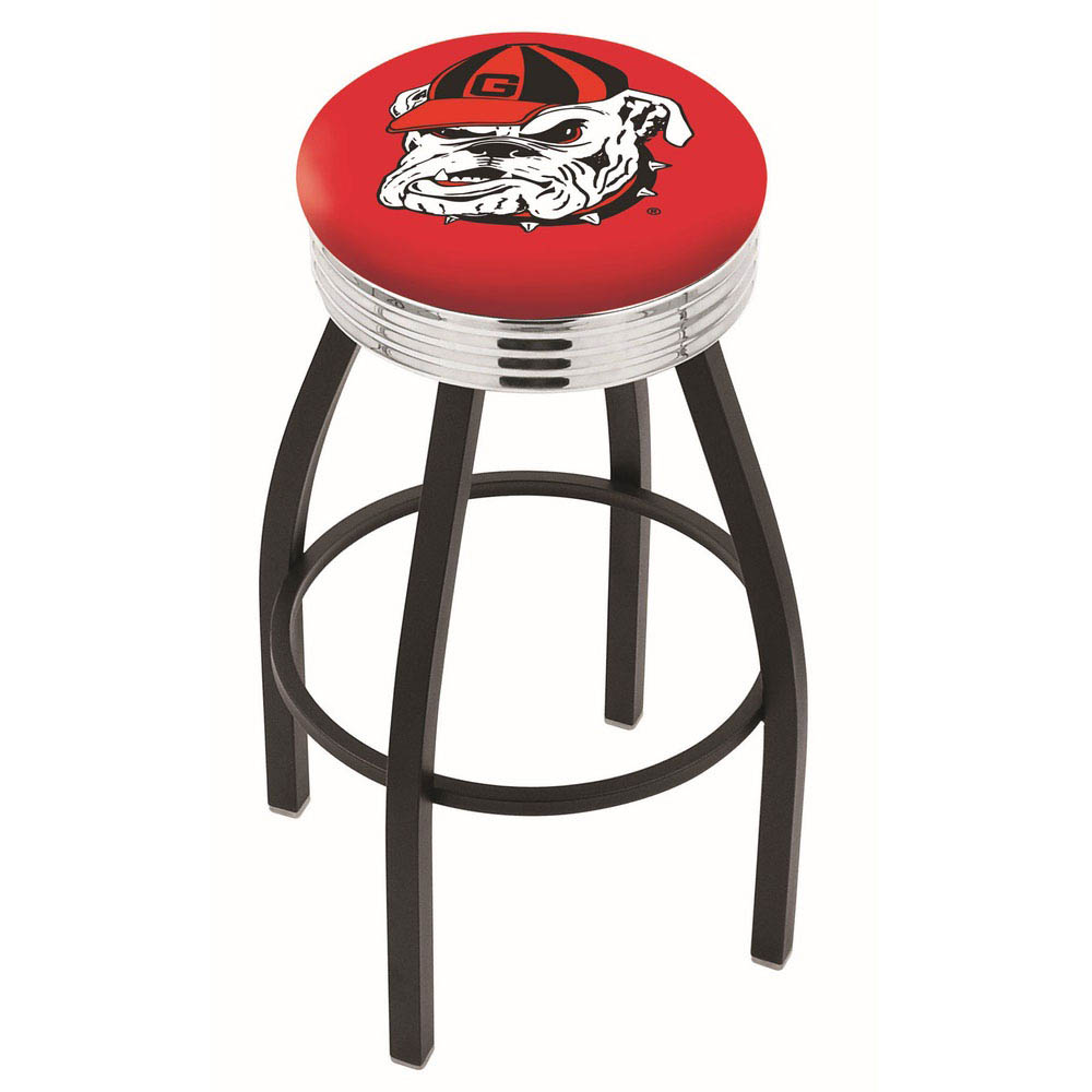 "Georgia ""Bulldog"" 25 Inch L8B3C Black Bar Stool L8B3C25GA-Dog"
