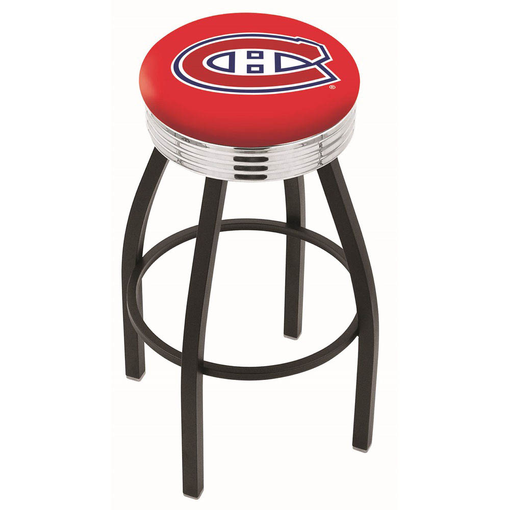 25 inch Black Montreal Canadiens Swivel Bar Stool w/ Chrome Ribbed Accent L8B3C25MonCan