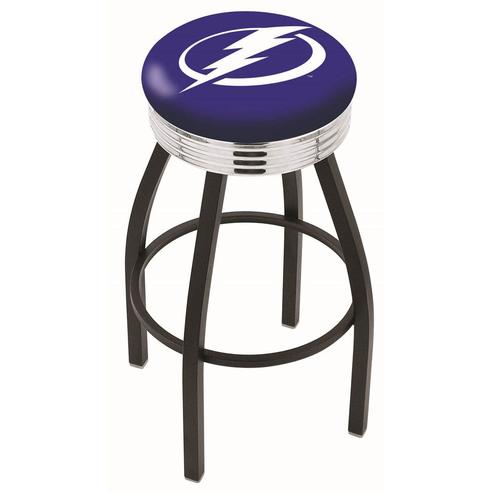 25 inch Black Tampa Bay Lightning Swivel Bar Stool w/ Chrome Ribbed Accent L8B3C25TBLght
