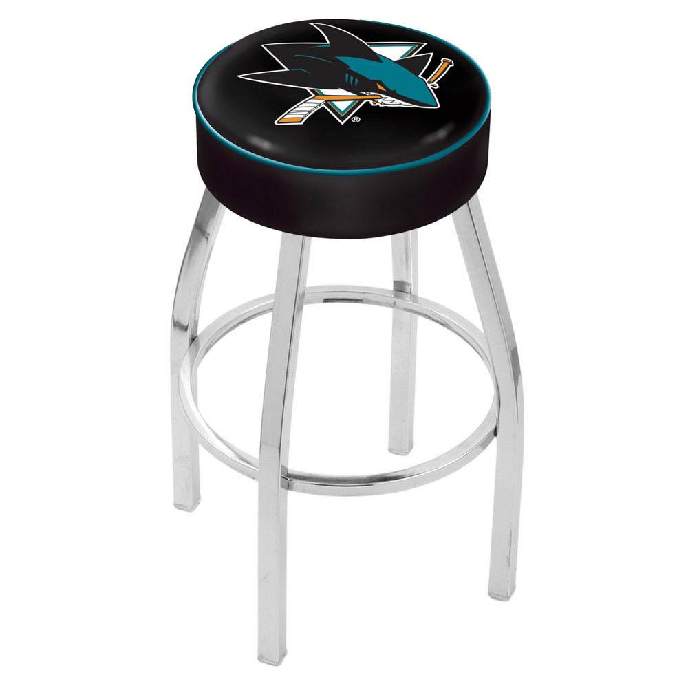 25 Inch San Jose Sharks Logo Swivel Bar Stool W/ Chrome Base