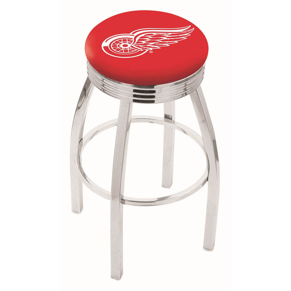 Detroit Red Wings 25 Inch L8C3C Chrome Bar Stool L8C3C25DetRed