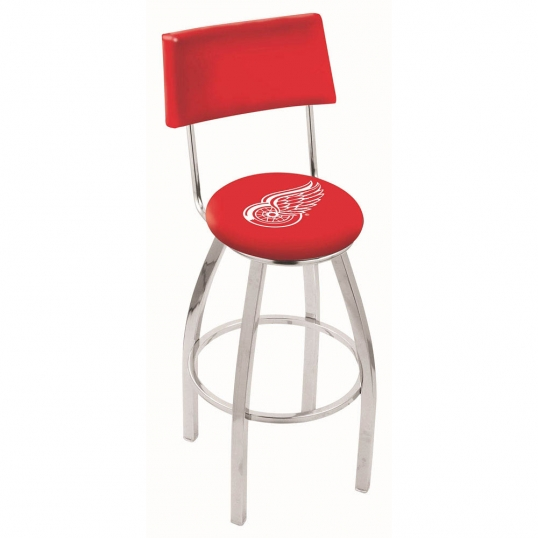 Holland Bar Stool Co 25 Inch Chrome Detroit Red Wings Swivel Bar