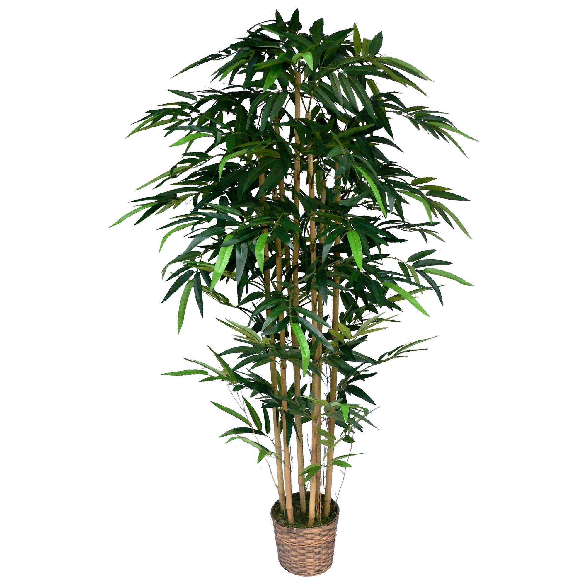 Laura Ashley 6 Foot Silk Bamboo Tree In Wicker Basket Planter