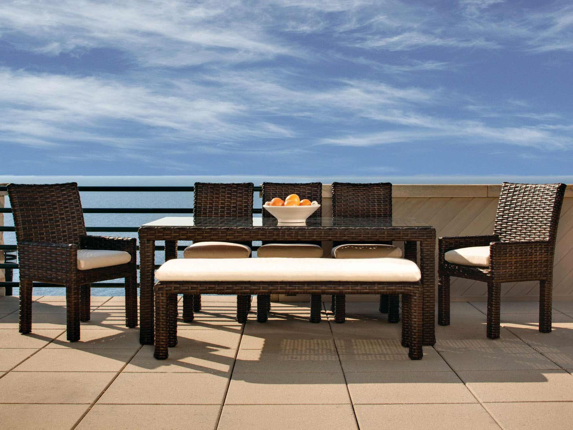 Lloyd flanders contempo outdoor wicker dining set with for Patio dining sets with bench seating