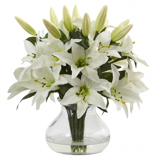 Nearly Natural 135 Inch White Lily Arrangement With Vase 1434