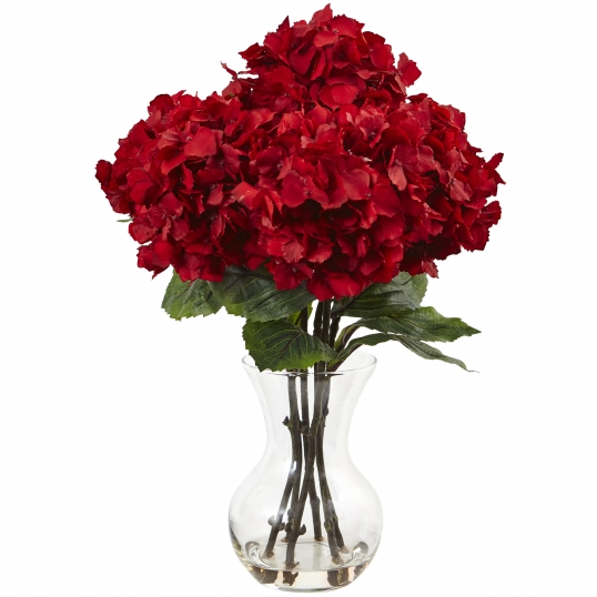 Nearly Natural 18 Inch Red Hydrangea In Vase 1442