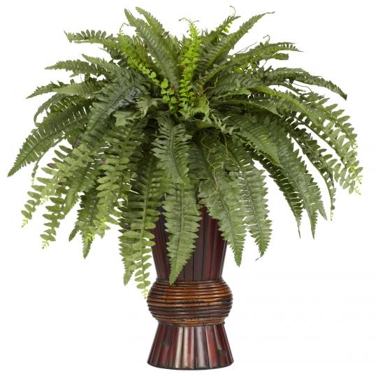 33 Inch Boston Fern In Bamboo Vase 6628