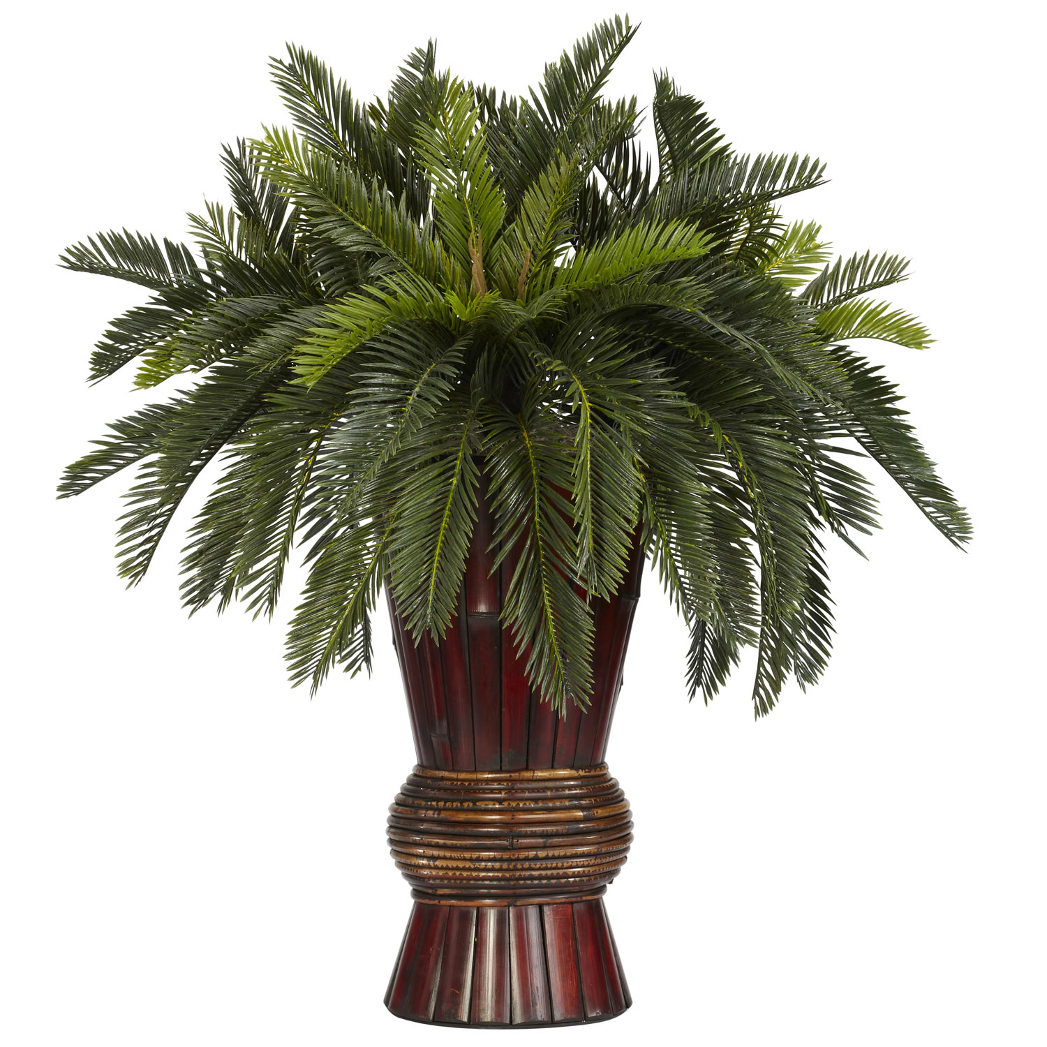 29 inch Cycas Palms in Bamboo Vase 6655