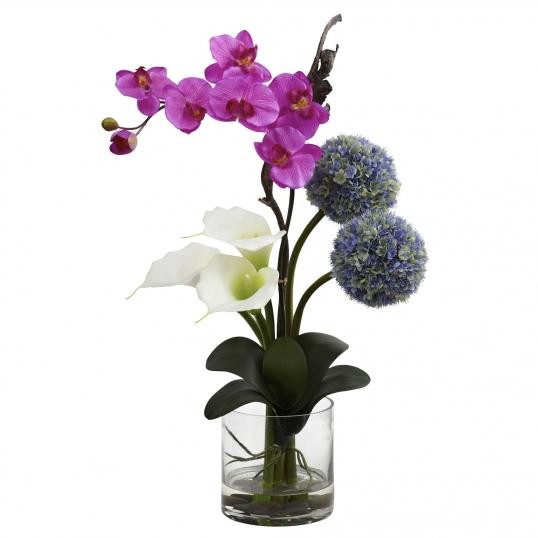 26 Inch Indoor Calla Lily Orchid Ball Flower Arrangement In Vase
