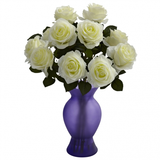 18 Inch Indoor Silk Roses In Colored Decorative Glass Vase 1351
