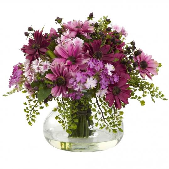 12 Inch Large Mixed Daisy Arrangement In Decorative Vase 1353