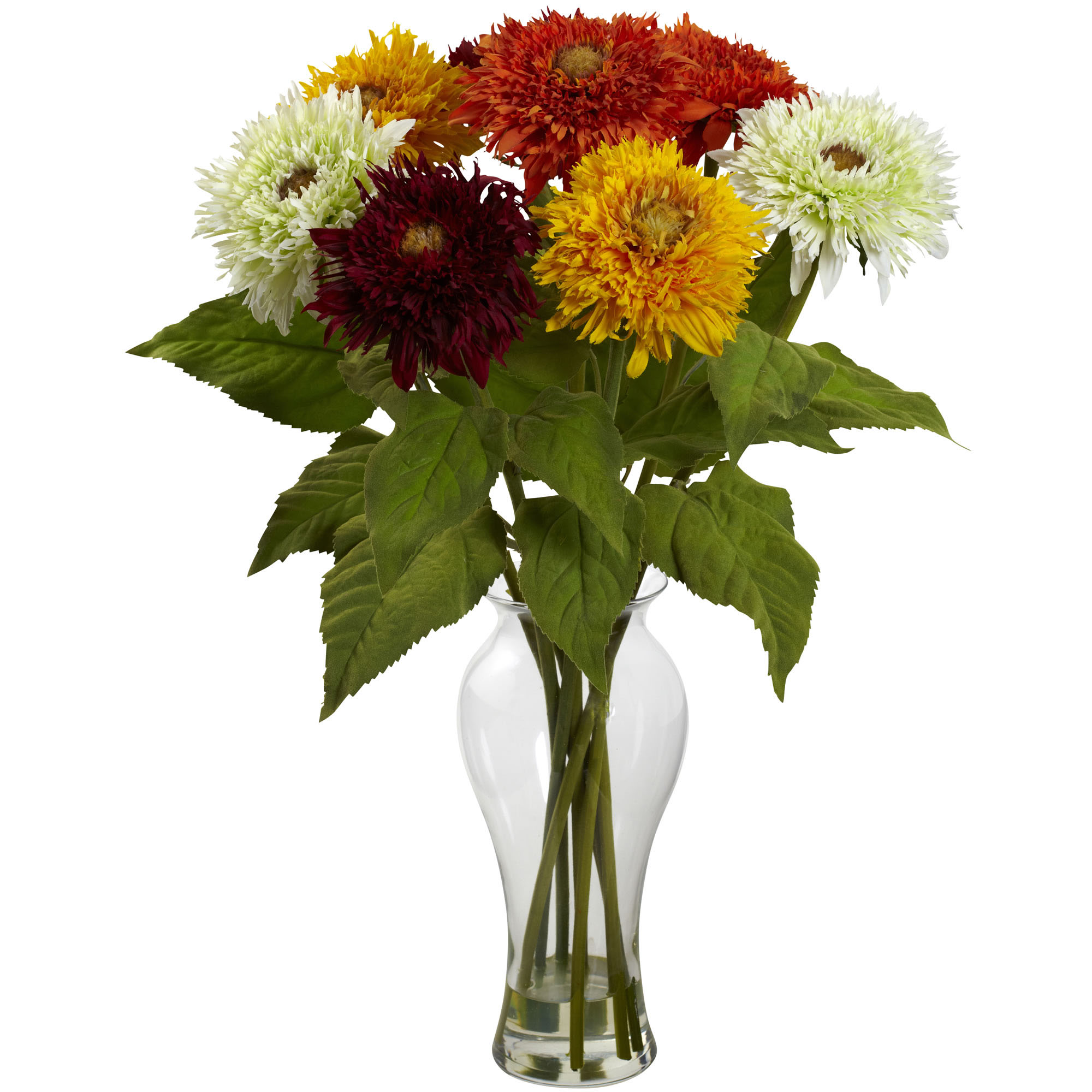 Inch silk sunflower arrangement in decorative vase
