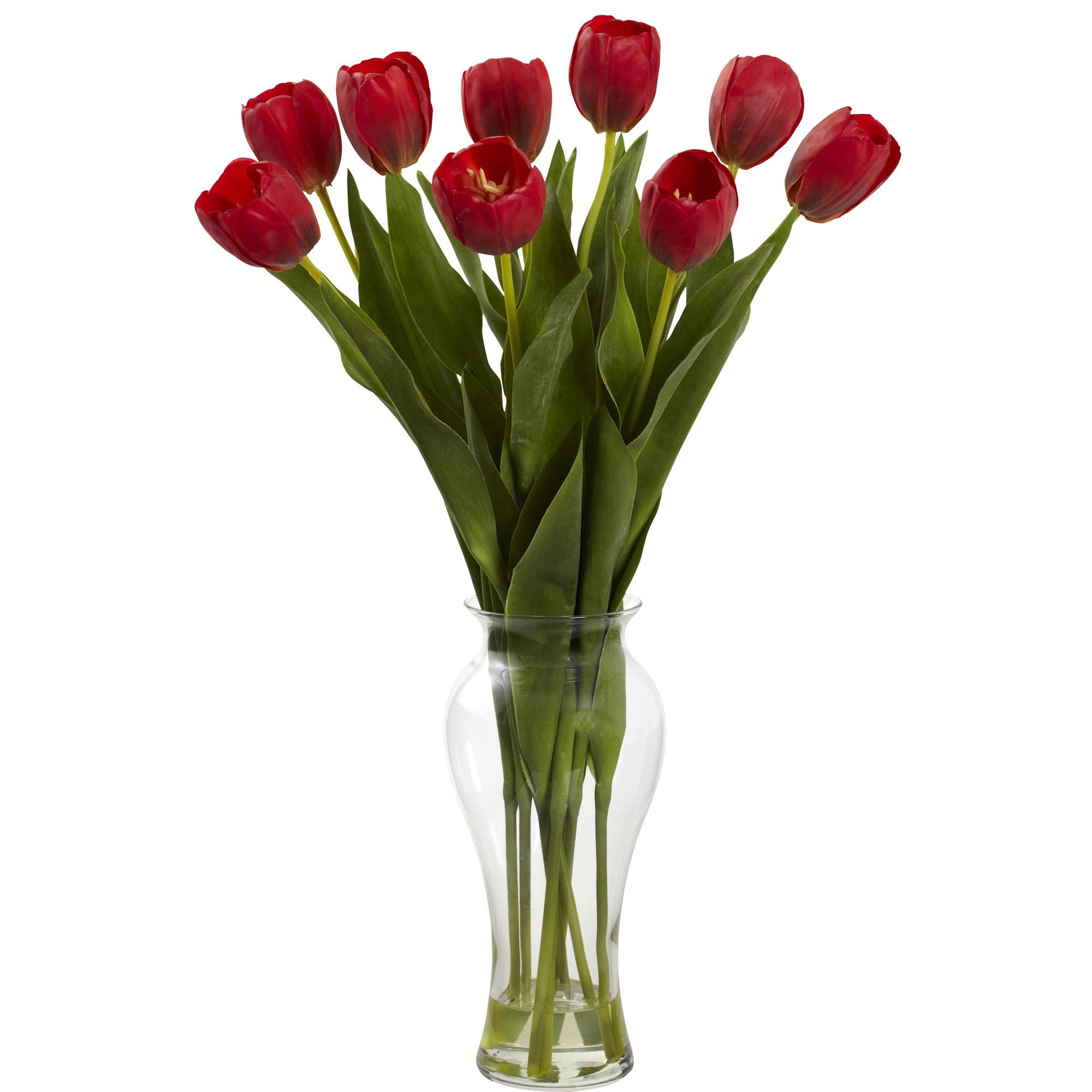 24 inch Red Indoor Silk Tulips in Decorative Glass Vase  1361RD