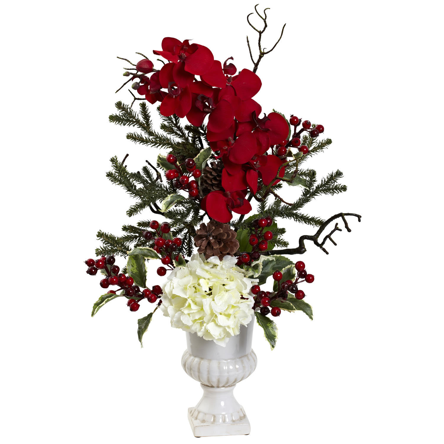 27 inch holly berry orchid hydrangea pine holiday Christmas orchid arrangements