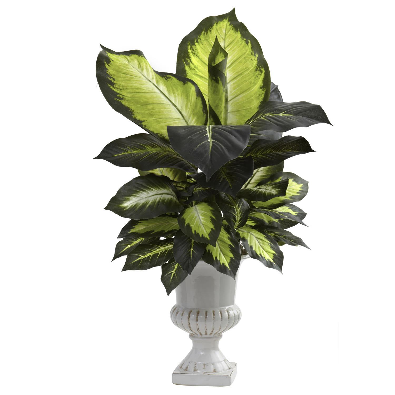 30 Inch Silk Dieffenbachia Plant With White Ceramic Urn