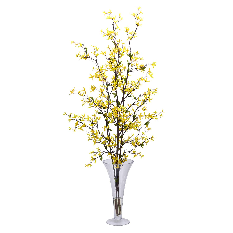 Silk forsythia arrangement with vase 1254 closeup image mightylinksfo