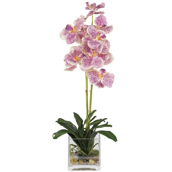 Vanda Silk Orchid Flower with Glass Vase 4638-PP