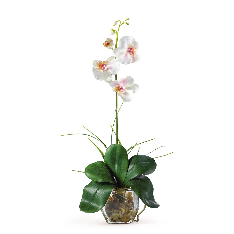 20 inch mini orchid liquid illusion silk arrangement in vase - Silk Orchids