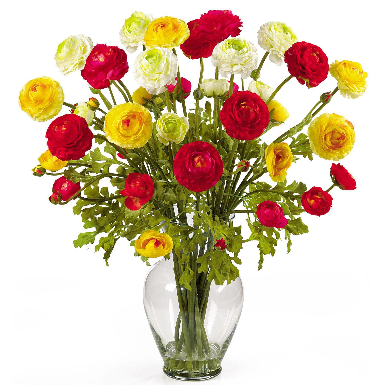 24 inch ranunculus liquid illusion silk flower arrangement for How to make artificial flower arrangements