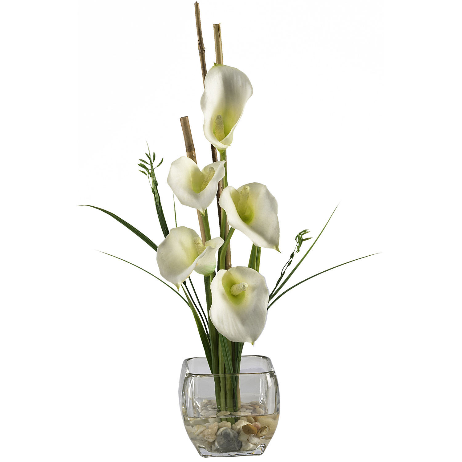 Calla Lilly Silk Flower Arrangement In Acrylic Water 1118