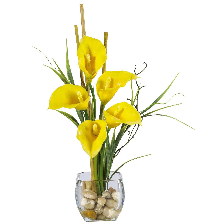 Calla Lilly Silk Flower Arrangement In Acrylic Water 1118