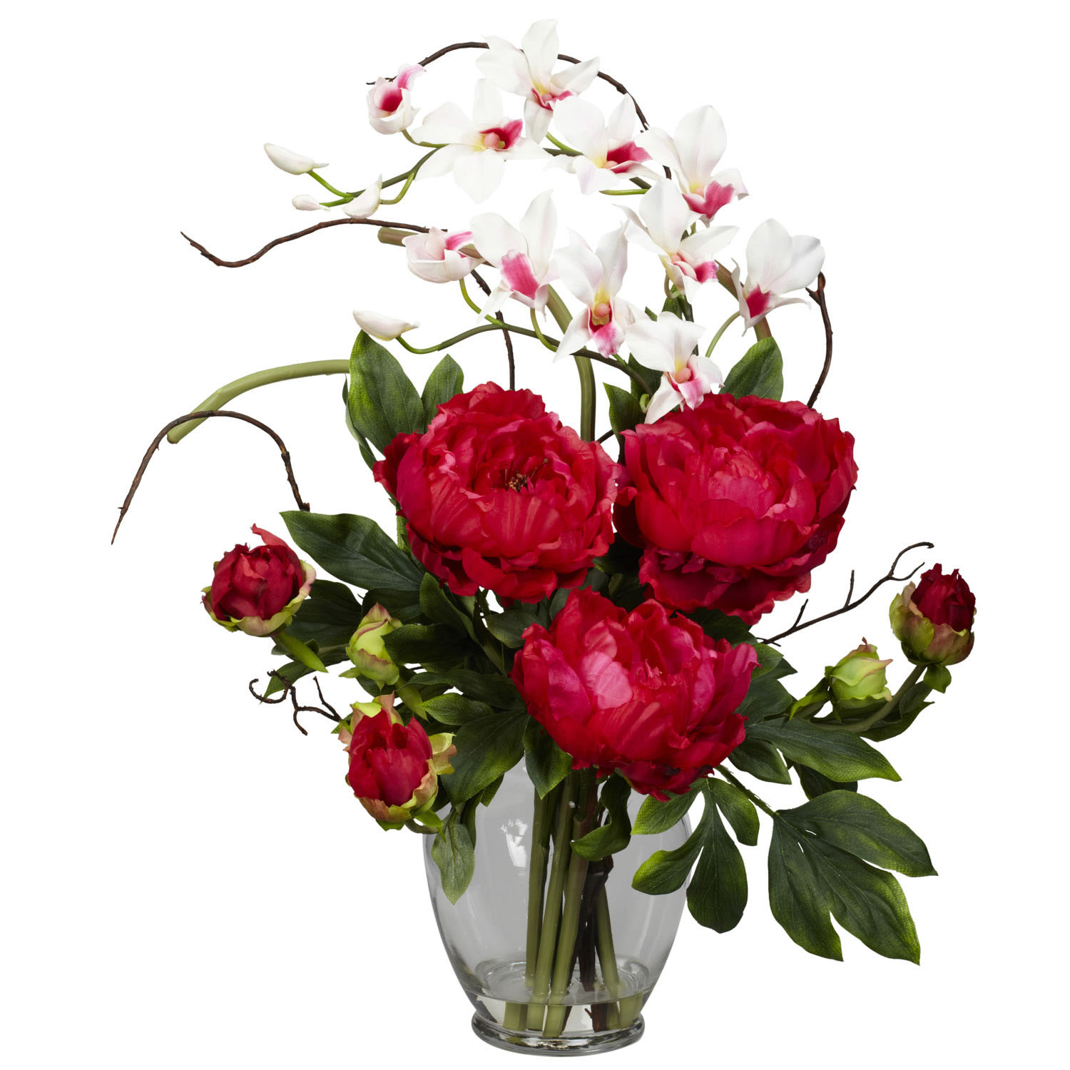 Peony and orchid silk flower arrangement 1175 Christmas orchid arrangements