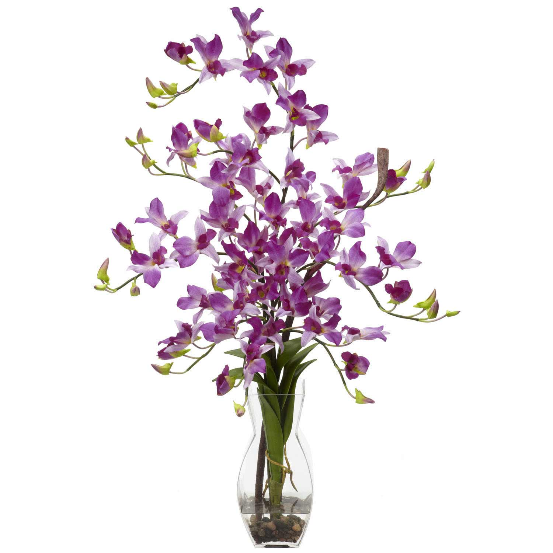 Silk Dendrobium Orchid Arrangement In Vase 1190 Nearly Natural