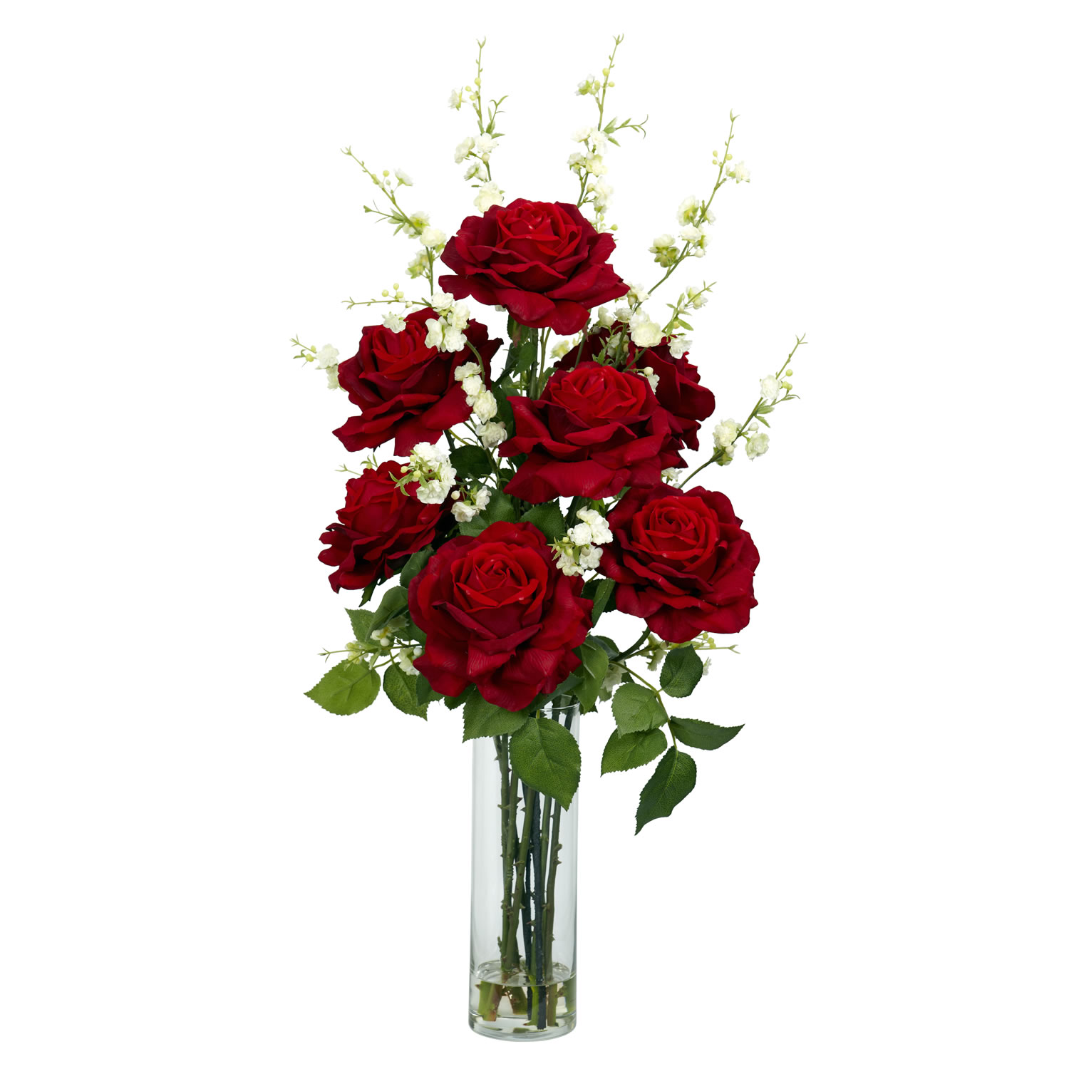 Roses With Cherry Blossoms Silk Arrangement 1203