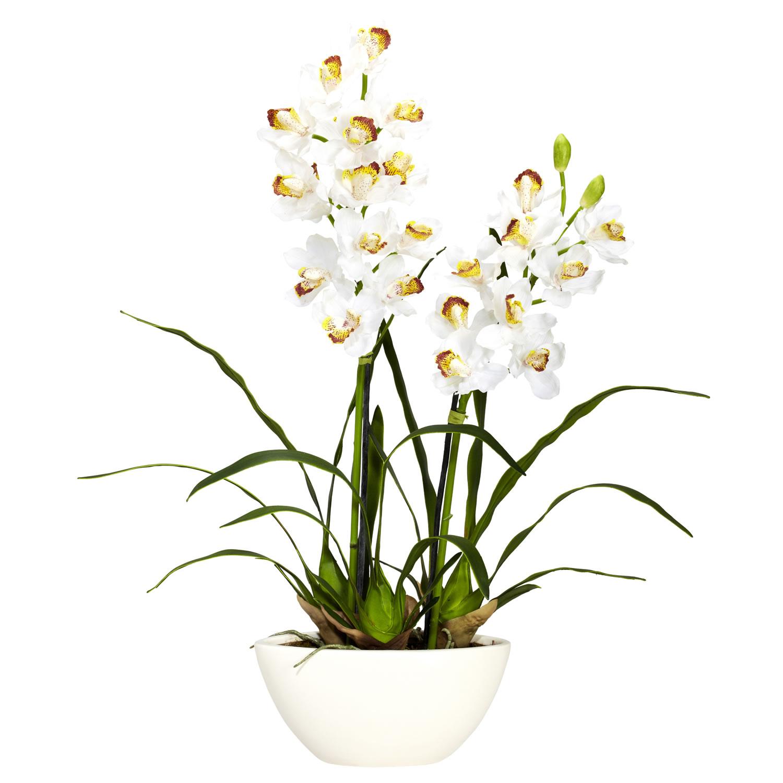 Silk cymbidium orchids with white vase 4803 closeup image reviewsmspy