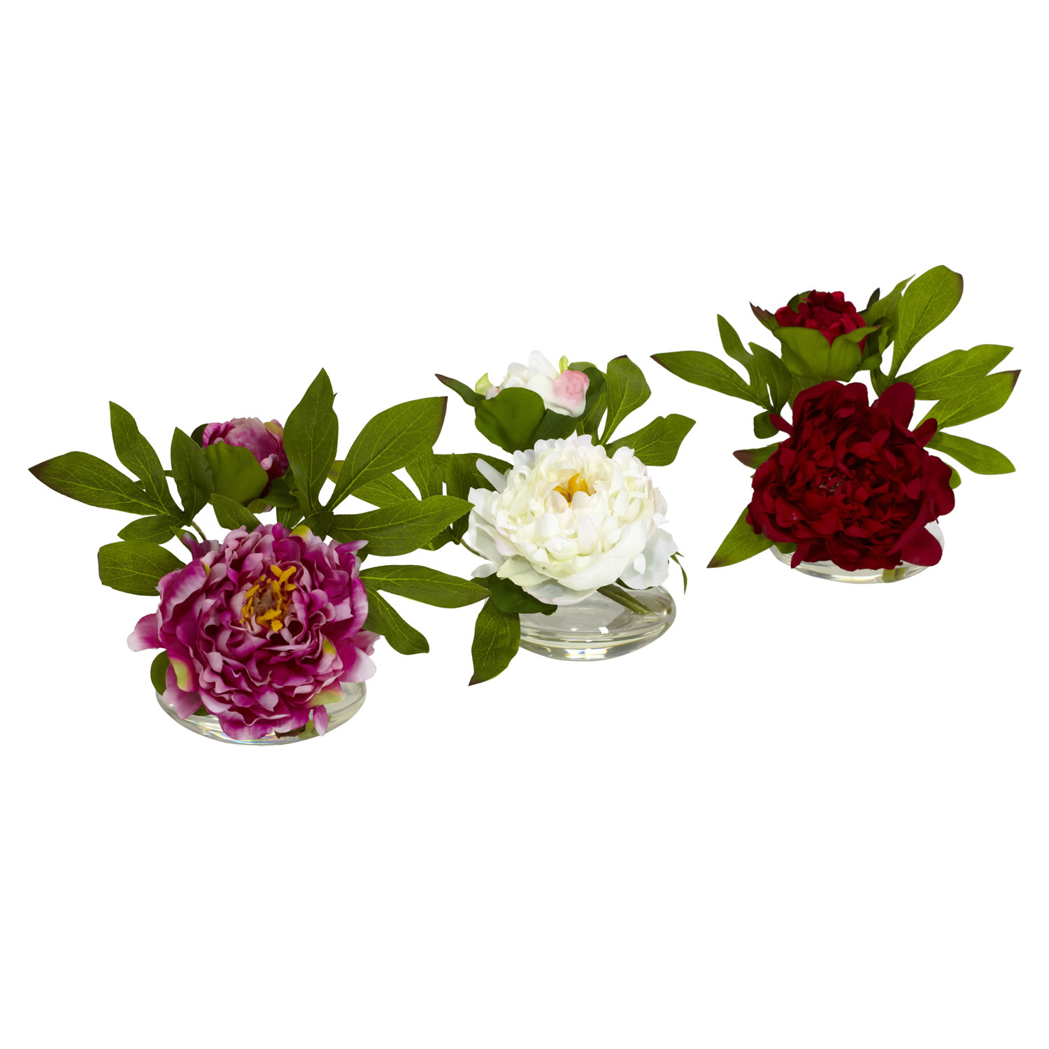 Small peony in glass vase set of 3 4789 closeup image reviewsmspy