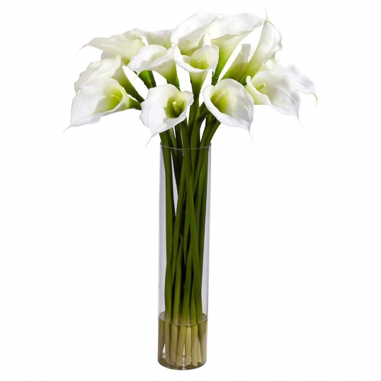 Silk Calla Lillies With Tall Cylinder Vase 1251