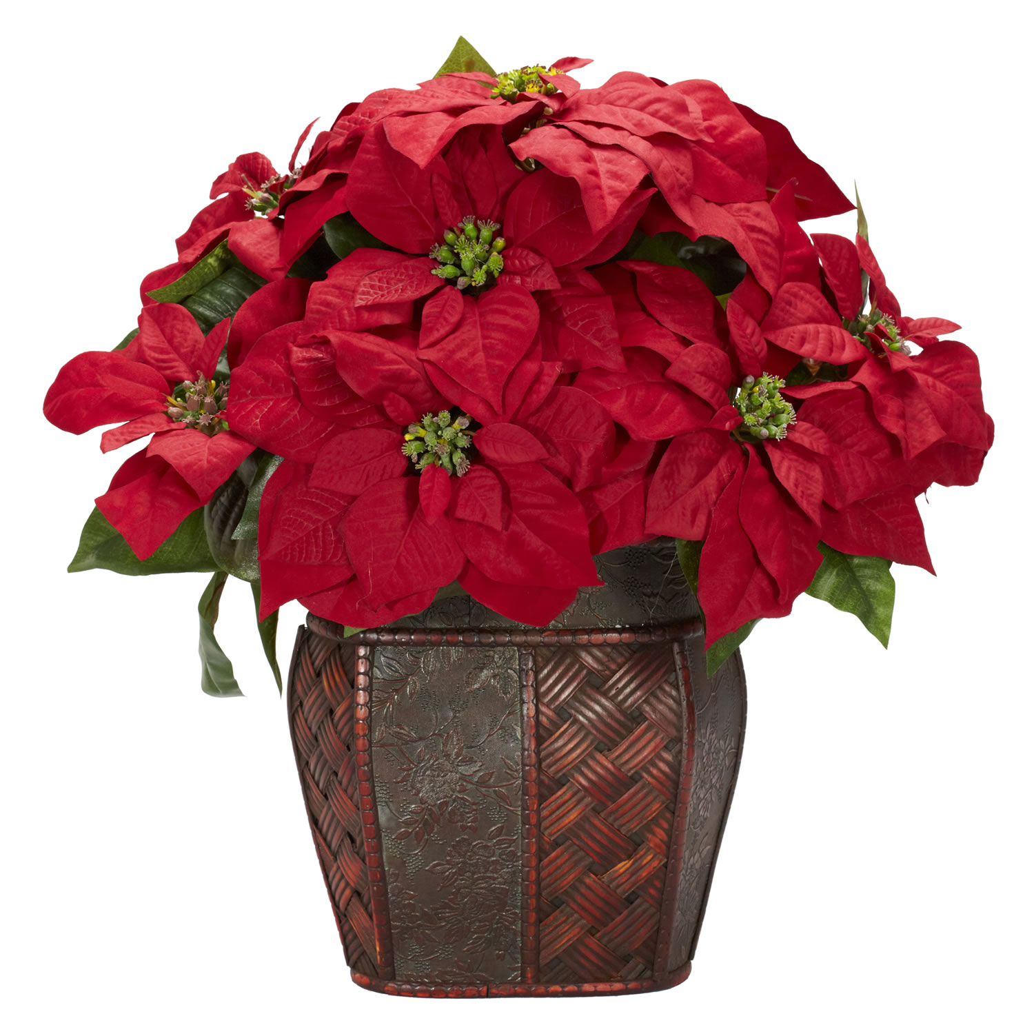 Silk poinsettia arrangement in decorative vase 1264 for Poinsettia arrangements