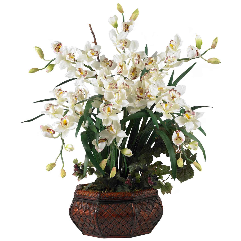 Cymbidium Orchid Silk Flower Arrangement 1199 Nearly Natural