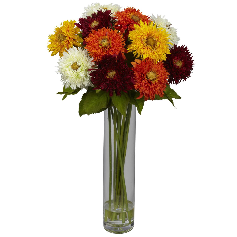 Silk sunflower arrangement with cylinder vase