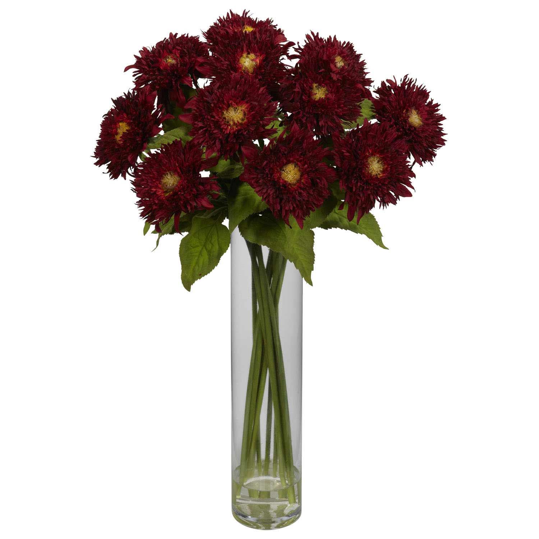 Silk sunflower arrangement with cylinder vase nearly