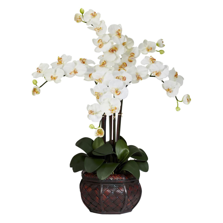 Silk Phalaenopsis Orchids With Decorative Vase 1211