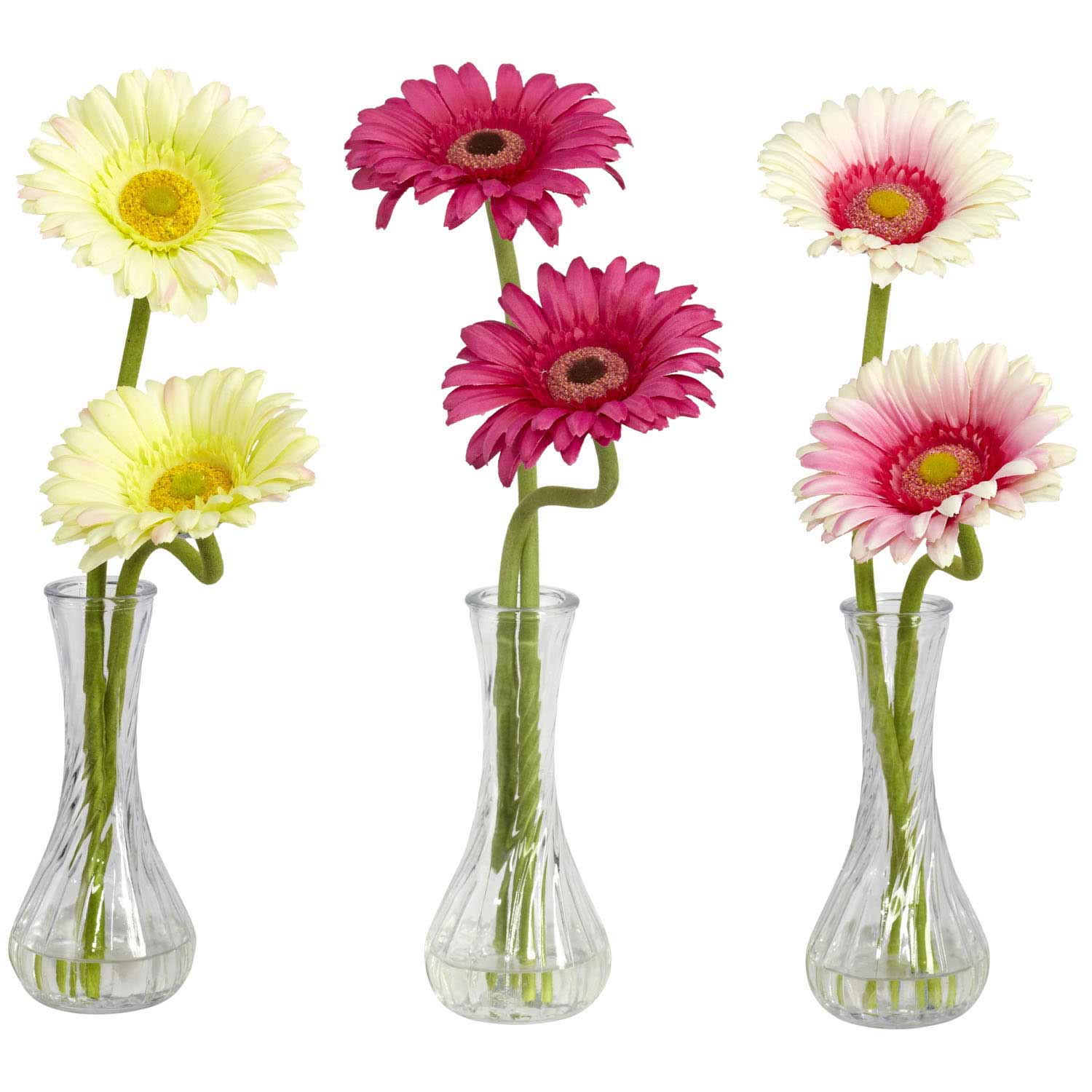 Gerbera Daisy Arrangements Vases: Gerber Daisy With Bud Vase (Set Of 3) 1248 Nearly Natural