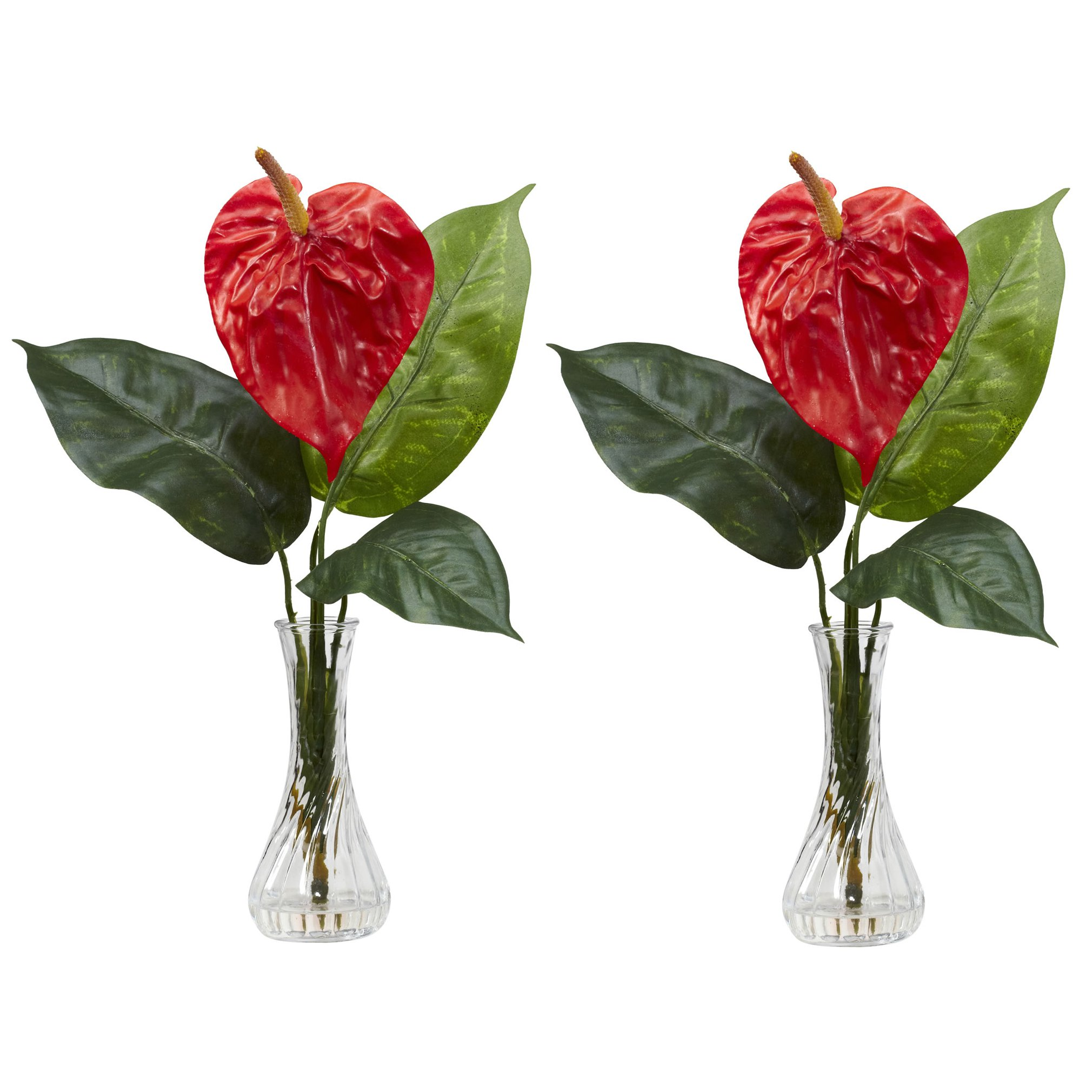 Silk Anthurium with Bud in Vase (Set of 2) 1286