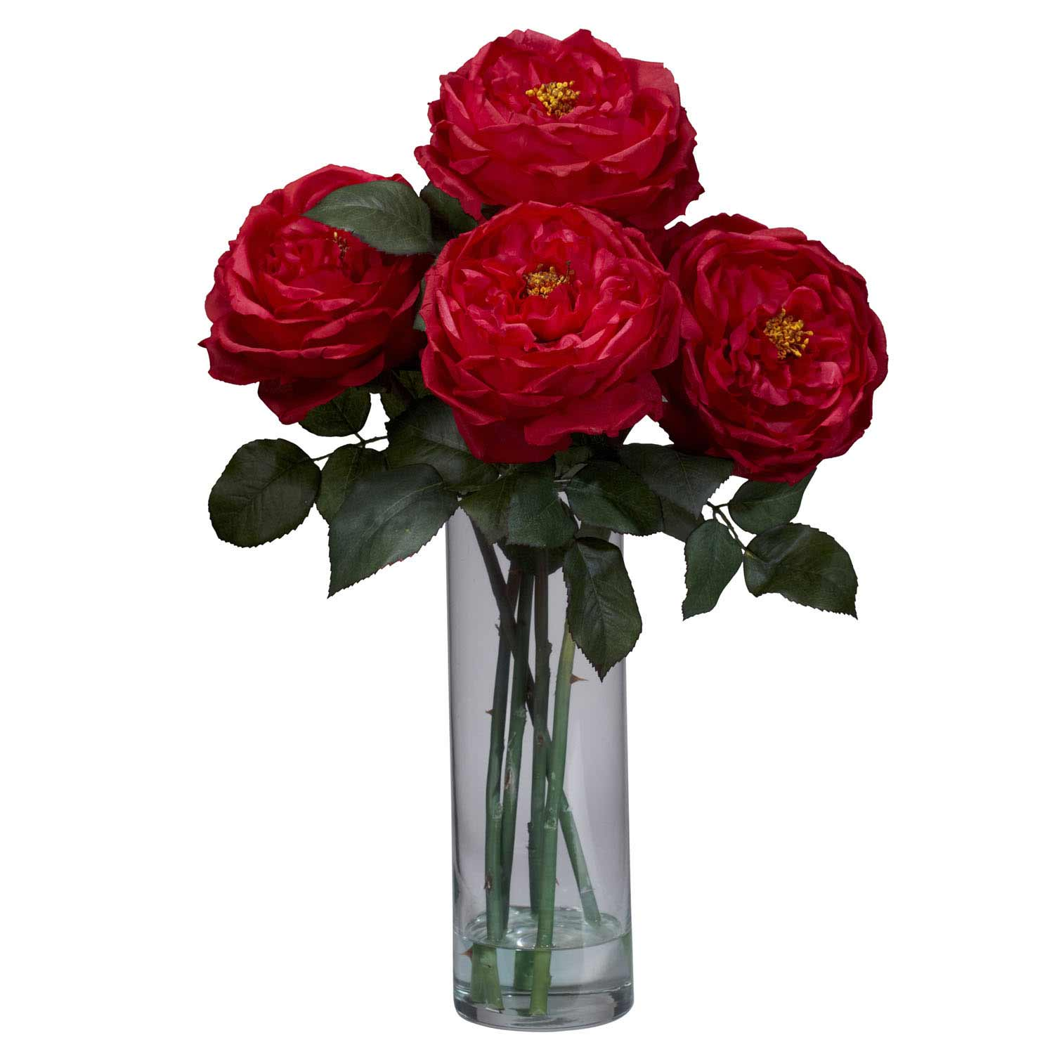 Blooming Rose Arrangement with Cylinder Vase 1247 Nearly Natural