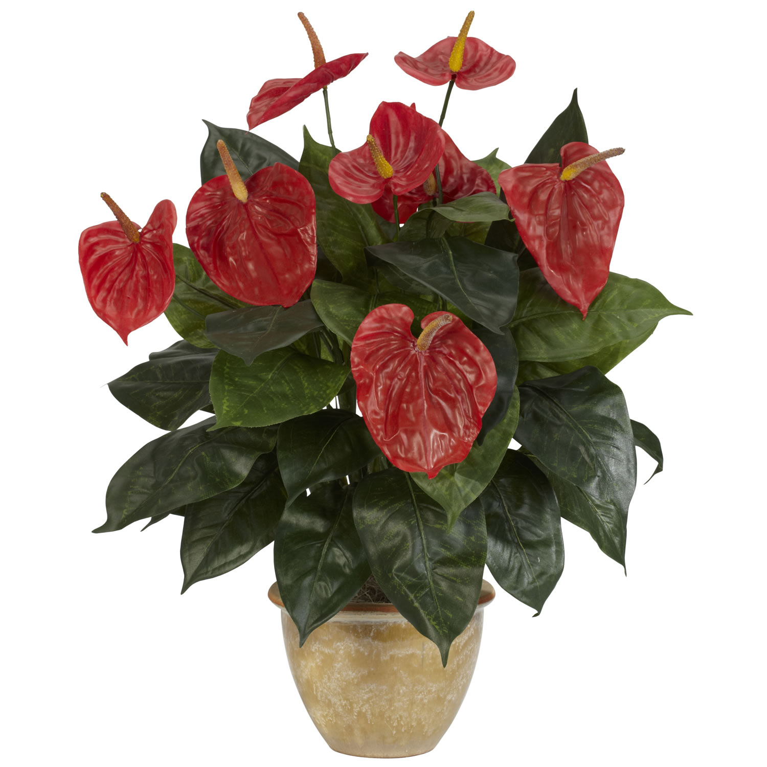 Silk Anthurium in Ceramic Vase 6665